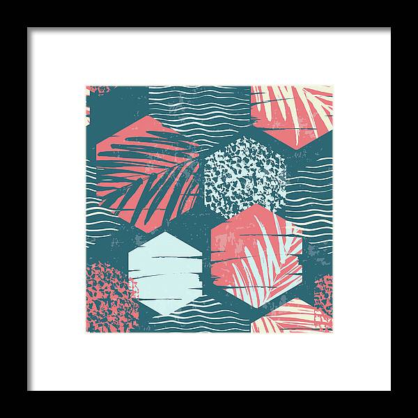 Tropical Rainforest Framed Print featuring the digital art Seamless Exotic Pattern With Palm by Nadezda grapes