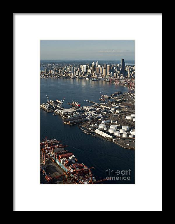 Elliott Bay Framed Print featuring the photograph Seattle Skyline And South Industrial Area by Jim Corwin