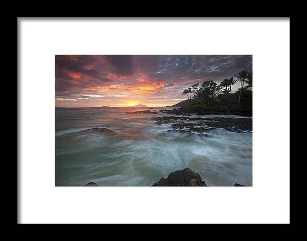 Sunset Secret Beach Maui Hawaii Ebb Flow Palmtrees Beach Rocks Framed Print featuring the photograph Secret Love by James Roemmling