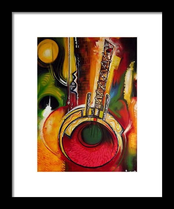 African Art Framed Print featuring the painting seneGambian Kora by Olumide Egunlae