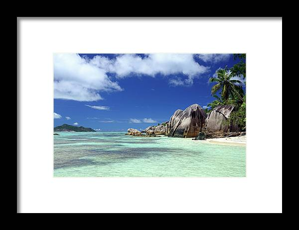 Tropical Tree Framed Print featuring the photograph Seychelles Seascape by Alxpin