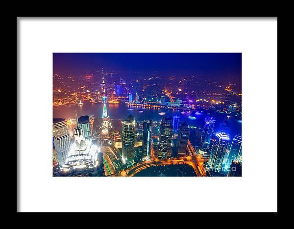 Shanghai Framed Print featuring the photograph Shanghai Pudong Skyline by Fototrav Print