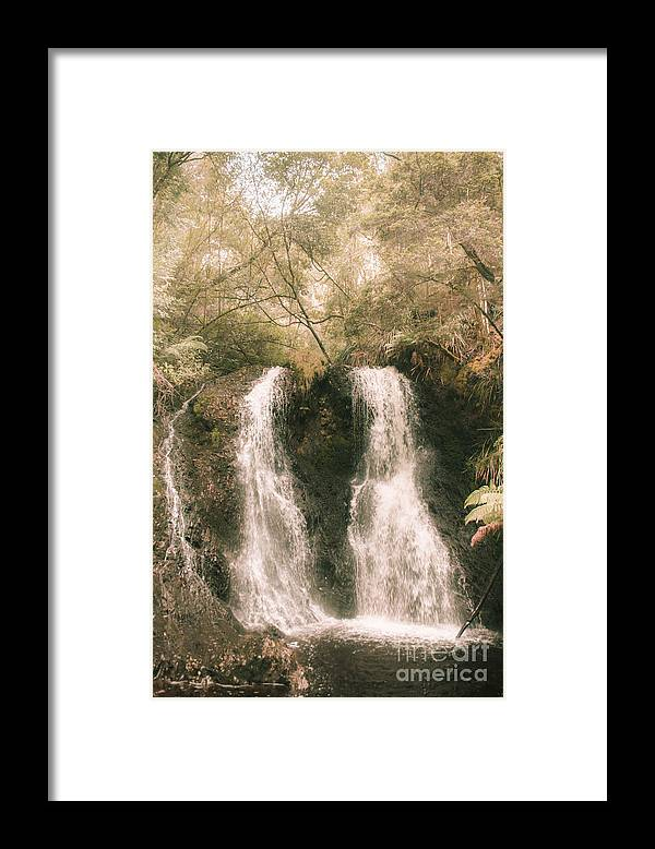 Waterfall Framed Print featuring the photograph Soft Vintage Forest Waterfall In Tasmania by Jorgo Photography - Wall Art Gallery