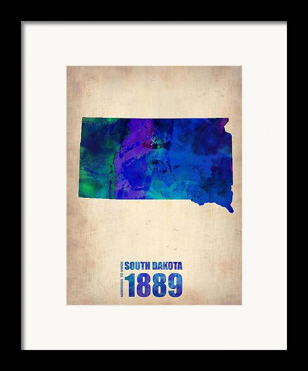 South Dakota Framed Print featuring the painting South Carolina Watercolor Map by Naxart Studio