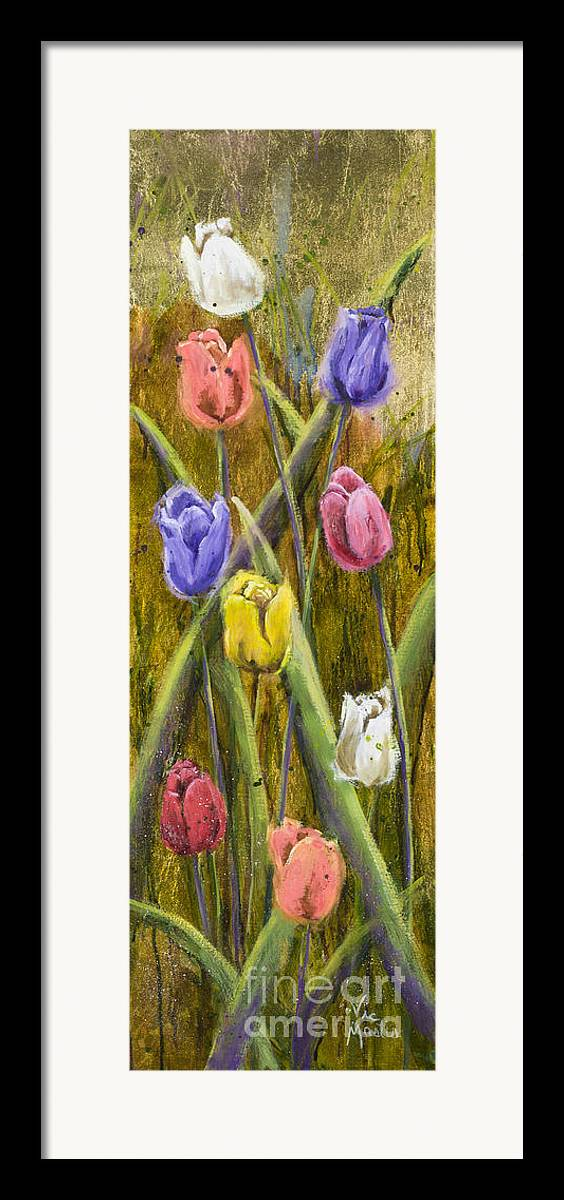 Tulip Framed Print featuring the painting Splashy Tulips by Vic Mastis
