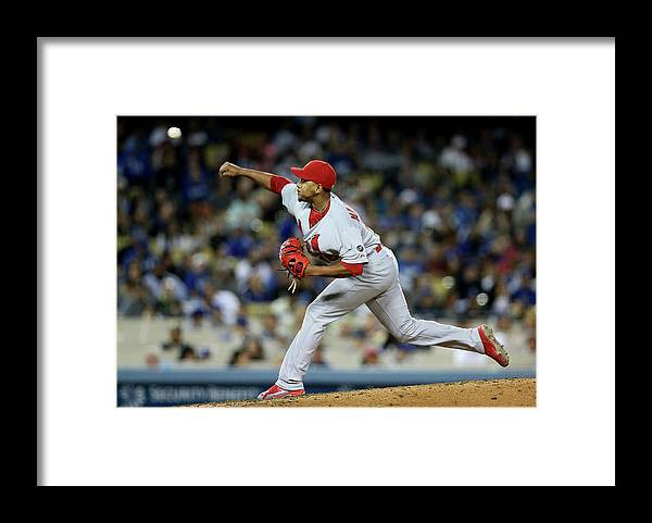 St. Louis Cardinals Framed Print featuring the photograph St Louis Cardinals V Los Angeles Dodgers by Stephen Dunn
