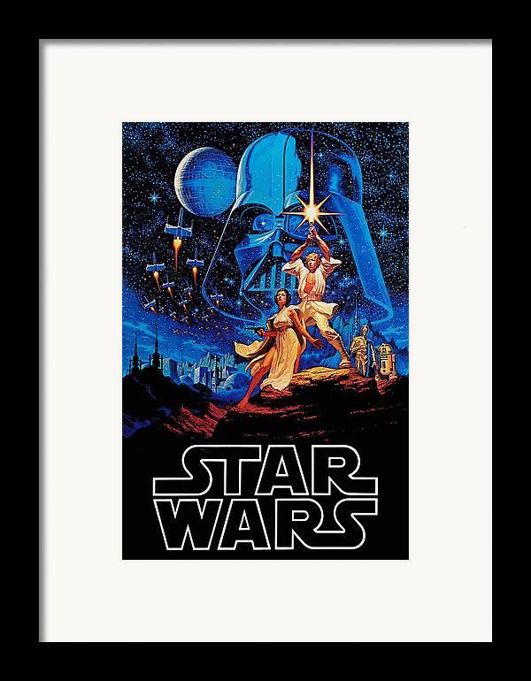 Star Framed Print featuring the drawing Star Wars by Farhad Tamim