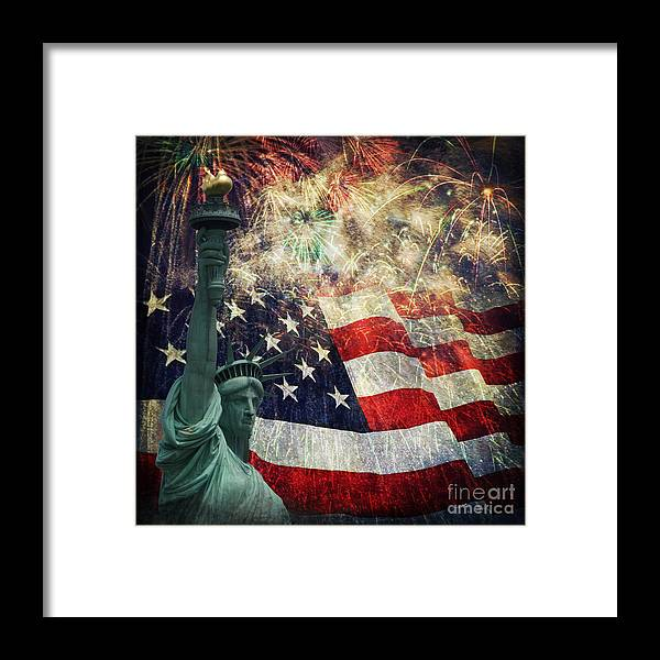 Statue Of Liberty Framed Print featuring the photograph Statue Of Liberty And Fireworks by Michael Shake