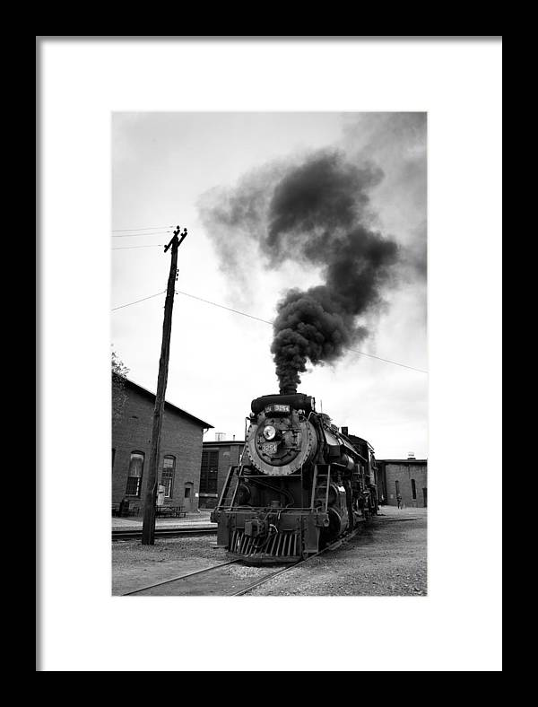 Steam Engine 3254 Framed Print featuring the photograph Steam Engine 3254 Black And White by Robert Klemm