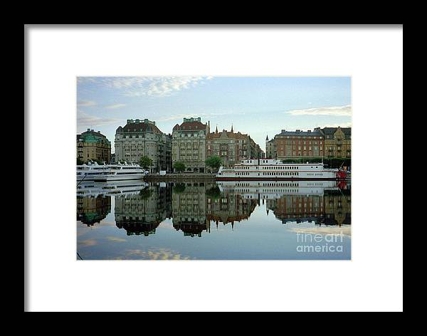 Sweden Framed Print featuring the photograph Stockholm City Harbor Sunrise by Ted Pollard