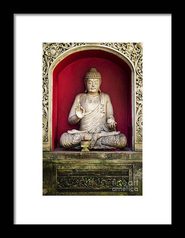 Art Framed Print featuring the photograph Stone Statue Of Buddha In Bali Indonesia by Jacek Malipan