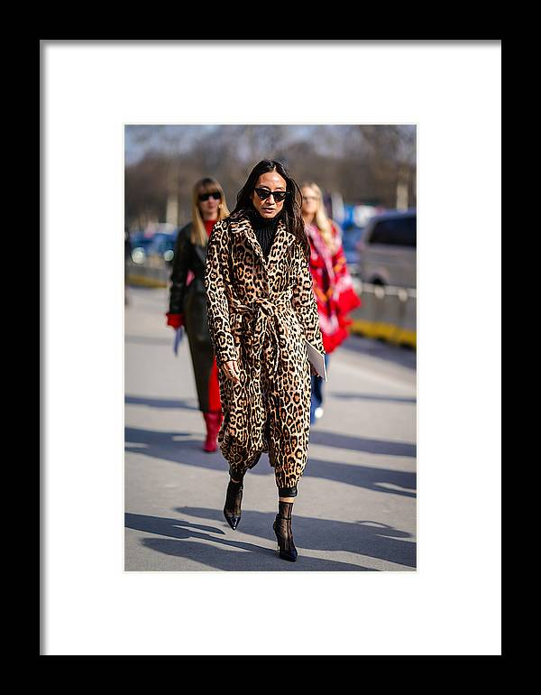 a3effd88a Jacket Framed Print featuring the photograph Street Style   Paris Fashion  Week Womenswear Fall winter