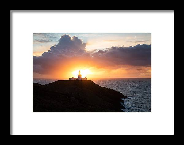 Lighthouse Framed Print featuring the photograph Sunset At Strumble Head Lighthouse by Ian Middleton