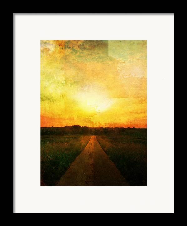 Brett Framed Print featuring the digital art Sunset Road by Brett Pfister