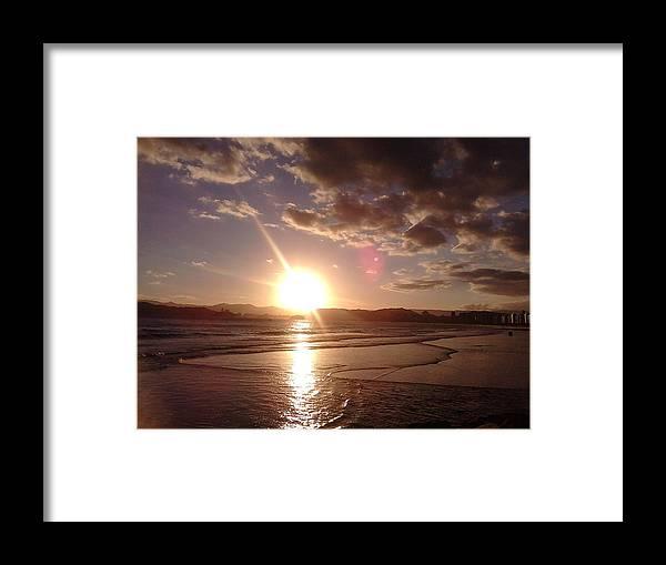 Landscape Framed Print featuring the photograph Sunset Santos Brazil by Vera Radoja de Vasconcelos