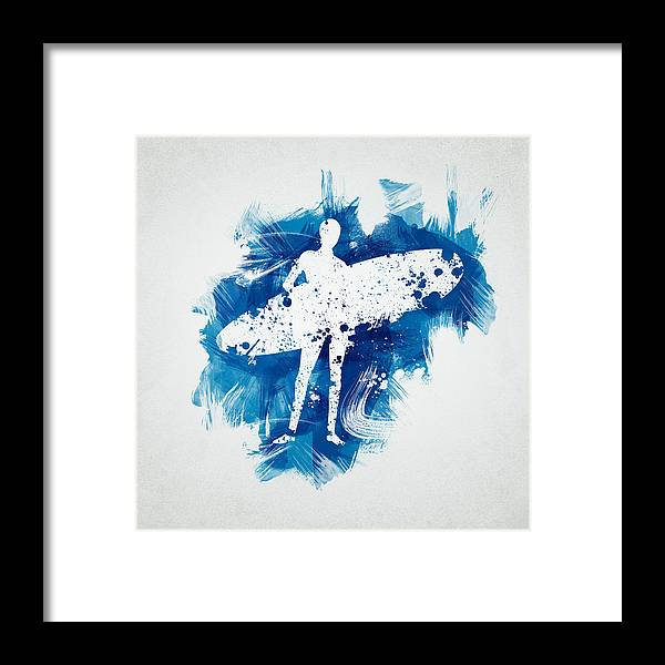 Action Framed Print featuring the digital art Surfer Girl by Aged Pixel
