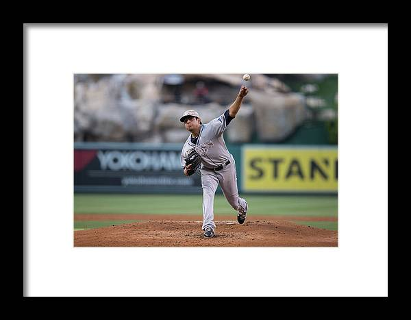 Second Inning Framed Print featuring the photograph Tampa Bay Rays V Los Angeles Angels Of 1 by Paul Spinelli