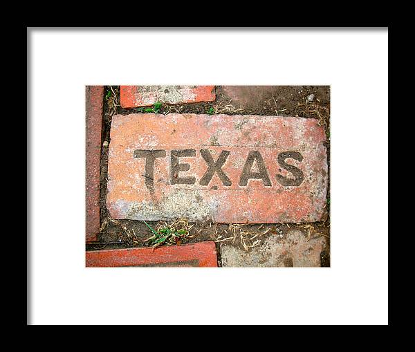 Texas Framed Print featuring the photograph Texas Brick by K Marie