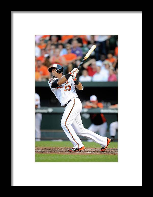 American League Baseball Framed Print featuring the photograph Texas Rangers V Baltimore Orioles 1 by Greg Fiume