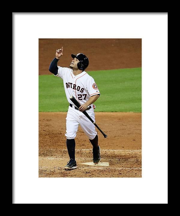 American League Baseball Framed Print featuring the photograph Texas Rangers V Houston Astros by Scott Halleran