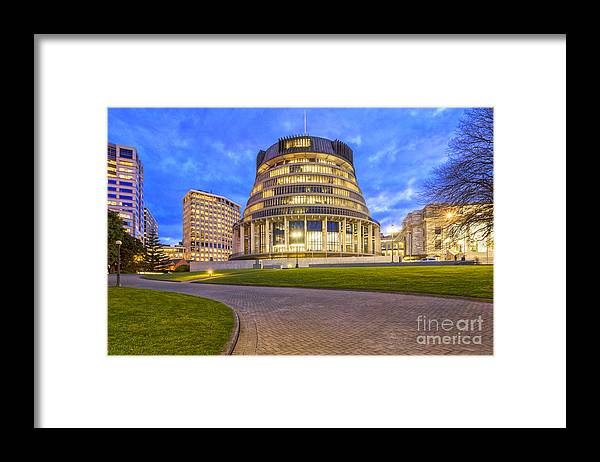 Wellington Framed Print featuring the photograph The Beehive Wellington New Zealand by Colin and Linda McKie