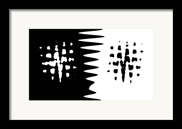 Abstract Black White Difference Abstract Digital Art Framed Print featuring the painting The Difference Between by Steve K