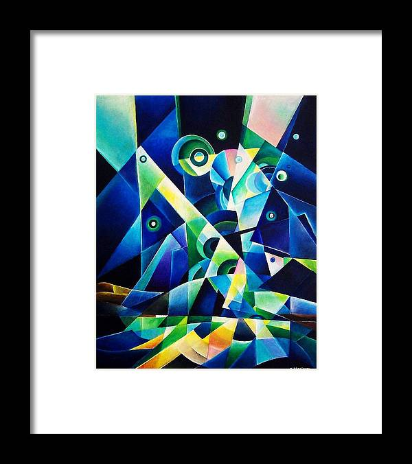 Gates Acrylics Abstract Framed Print featuring the painting The Gates by Wolfgang Schweizer