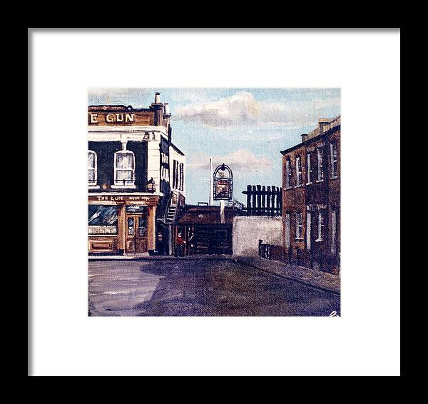 Gun Public House Framed Print featuring the painting The Gun Public House Isle Of Dogs London by Mackenzie Moulton