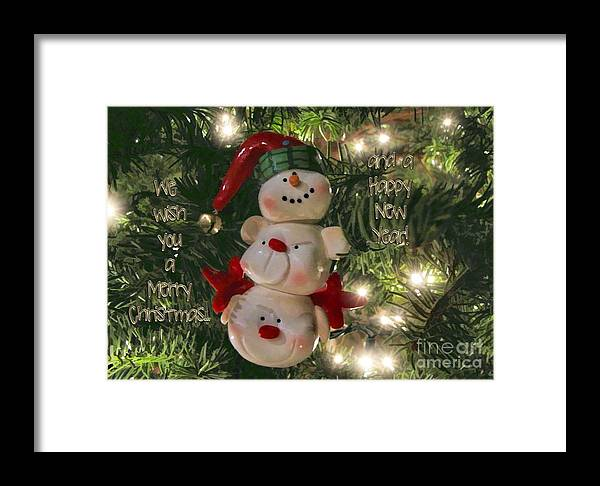 Greeting Card Framed Print featuring the photograph The Happy Snowman by Peggy Hughes