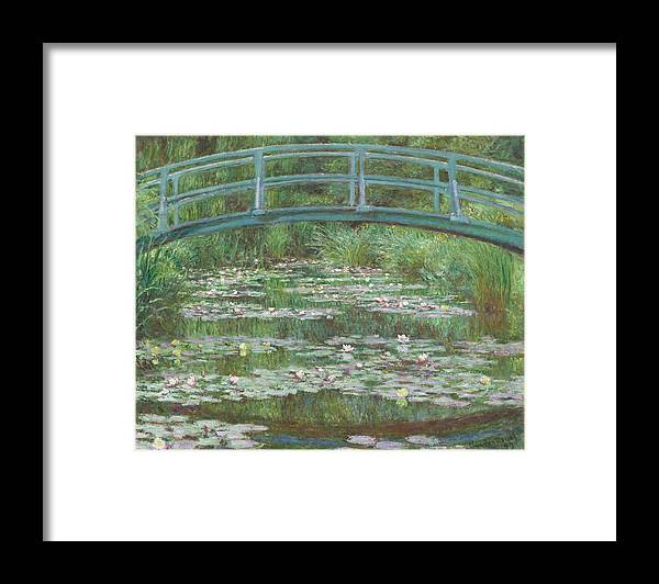 Claude Monet Framed Print featuring the painting The Japanese Footbridge by Claude Monet