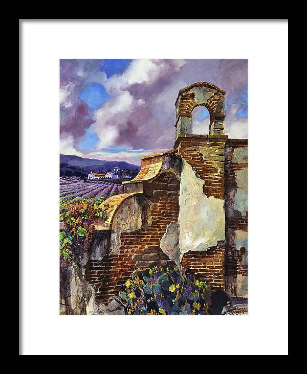 Oil Framed Print featuring the painting The Mission Vineyard by Clifton E Hadfield