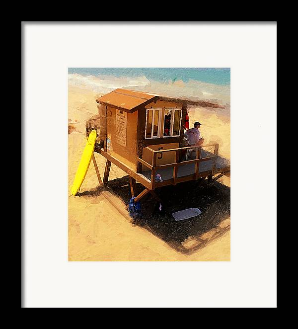 Lifeguard Station At San Clemente State Beach Framed Print featuring the photograph The Ocean Guard by Ron Regalado