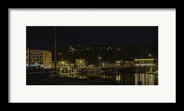 Night Framed Print featuring the photograph The Red Bridge by Timothy Latta