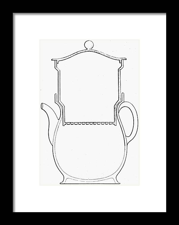 19th Century Framed Print featuring the drawing Thompson Drip Coffee Pot by Granger