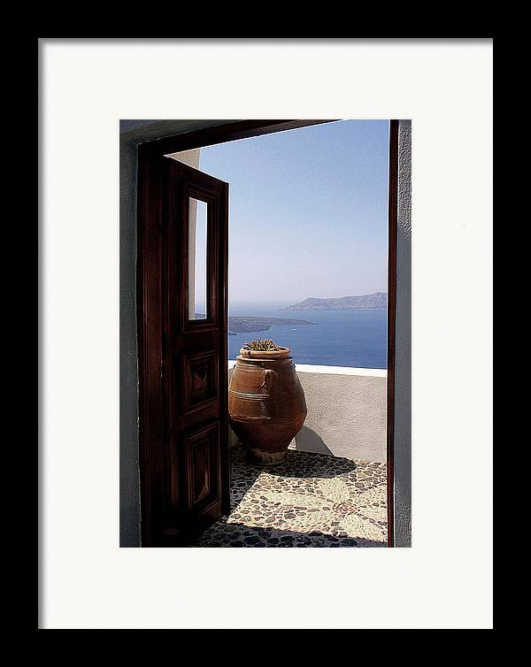 Santorini Framed Print featuring the photograph Through This Door by Julie Palencia
