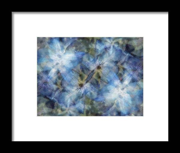 Clematis Framed Print featuring the painting Tissue Paper Blues by RC DeWinter