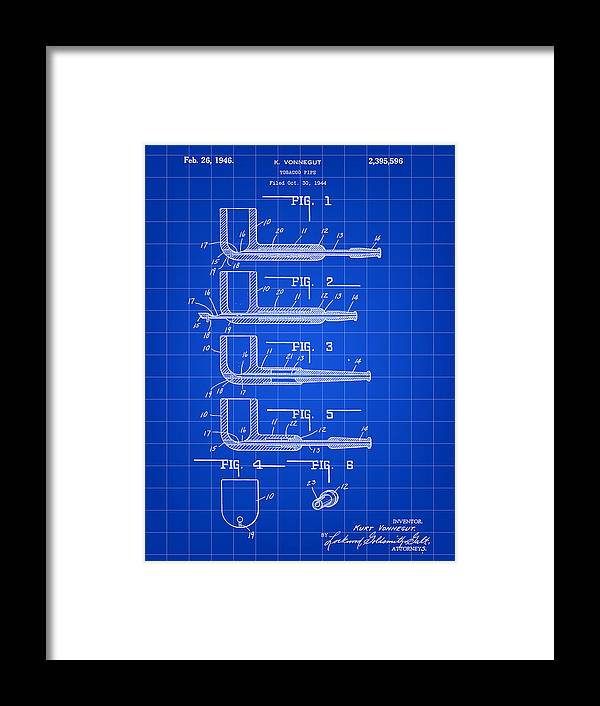 Tobacco Framed Print featuring the digital art Tobacco Pipe Patent 1944 - Blue by Stephen Younts