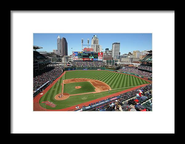 American League Baseball Framed Print featuring the photograph Toronto Blue Jays V. Cleveland Indians 1 by John Grieshop