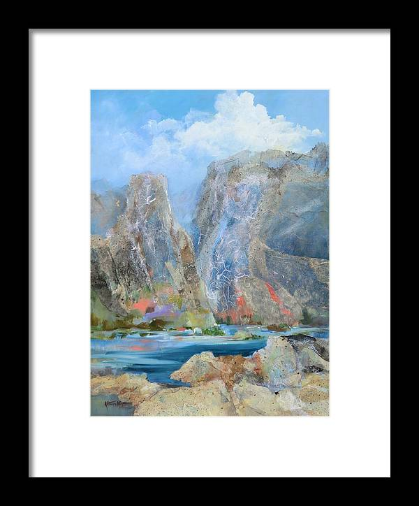 Abstract Framed Print featuring the painting Towering Stone by Kathryn Kaye