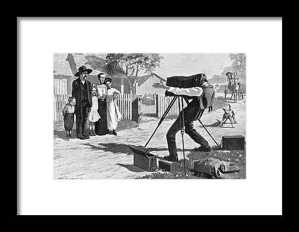1909 Framed Print featuring the painting Traveling Photographer by Granger