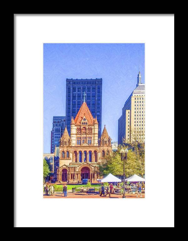 Trinity Church Framed Print featuring the digital art Trinity Church Boston Usa by Liz Leyden