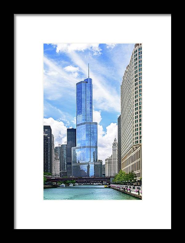 Scenics Framed Print featuring the photograph Trump Tower In Chicago Illinois 1 by Ghornephoto