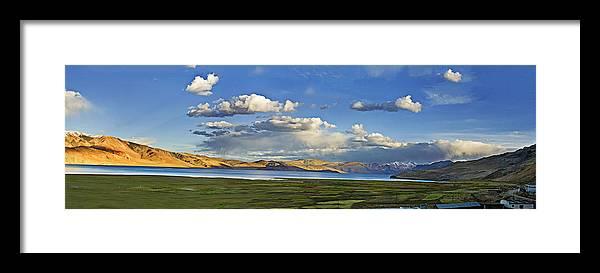 Tsomoriri Framed Print featuring the photograph Tsomoriri Lake Leh India by Sharat Sharma