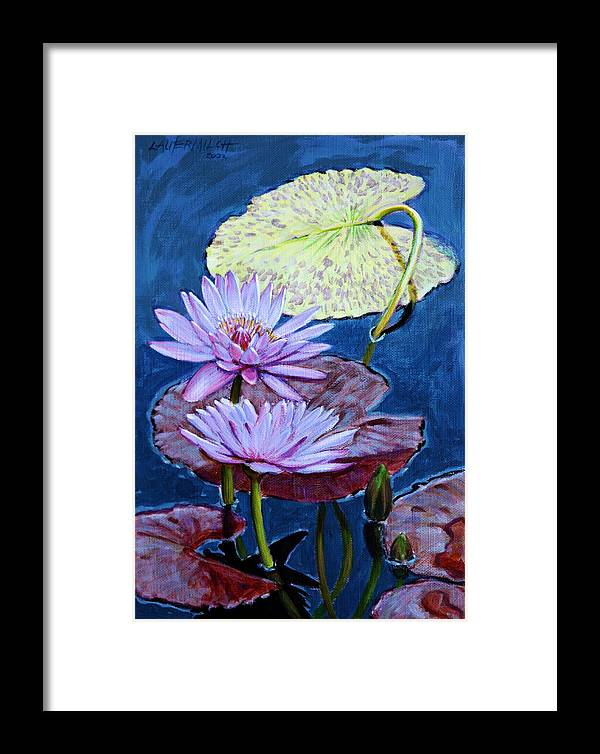 Water Lilies Framed Print featuring the painting Two Purple Lilies by John Lautermilch