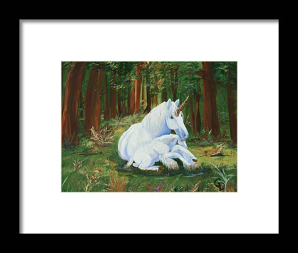 Unicorns Lap Framed Print featuring the painting Unicorns Lap by Gail Daley