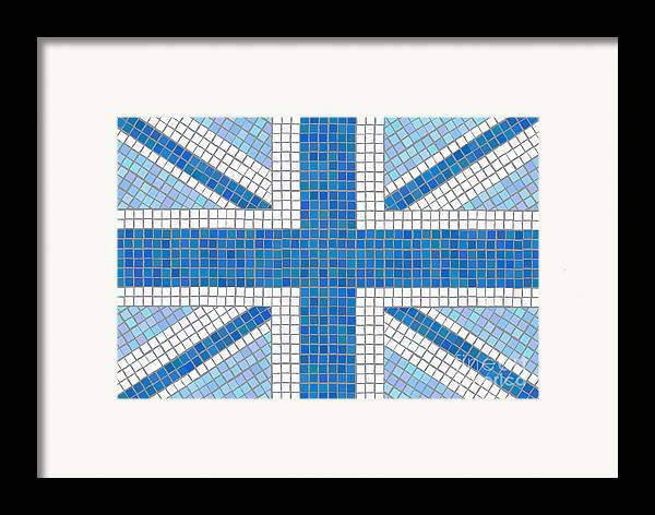 Background Framed Print featuring the digital art Union Jack Blue by Jane Rix
