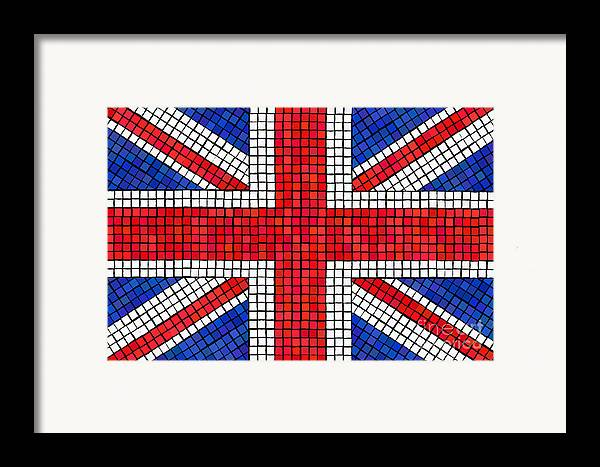 Background Framed Print featuring the digital art Union Jack Mosaic by Jane Rix