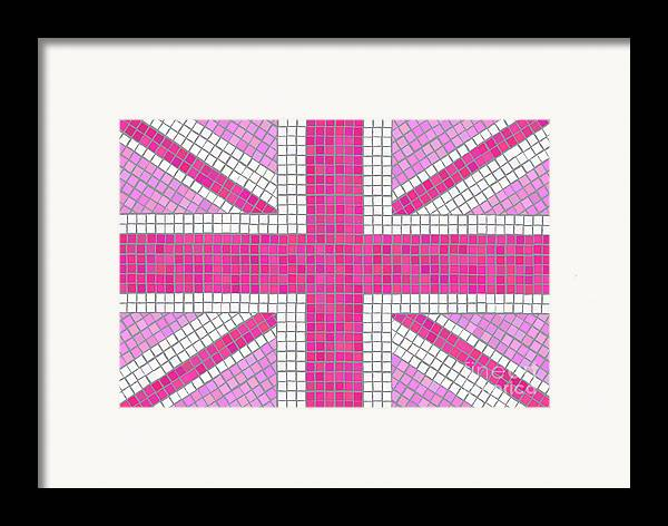 Background Framed Print featuring the digital art Union Jack Pink by Jane Rix