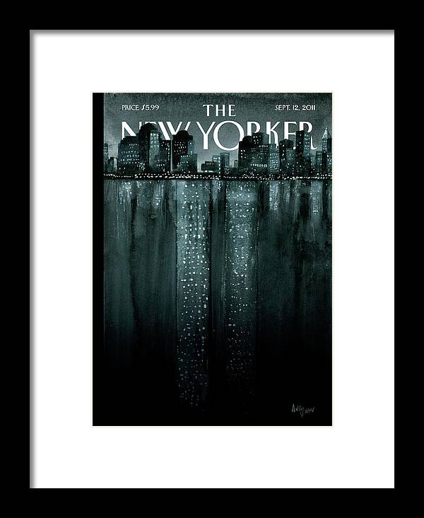 Trade Center Framed Print featuring the painting New Yorker September 12th, 2011 by Ana Juan