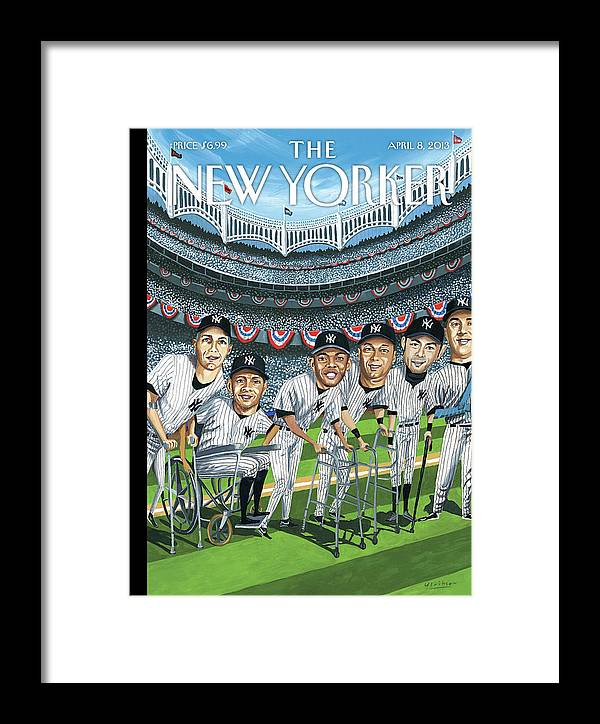 Yankees Framed Print featuring the painting New Yorker April 8th, 2013 by Mark Ulriksen